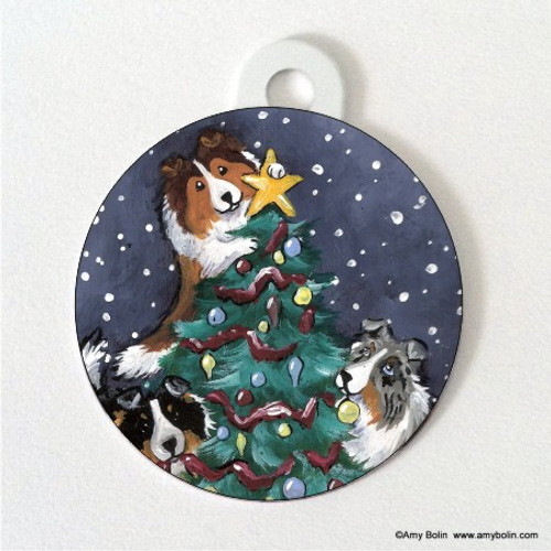 """""""Christmas Together"""" Blue Merle, Sable, Tri Color Shetland Sheepdog Double Sided Pet ID Tag"""