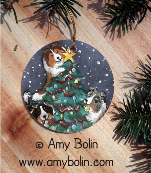 """Christmas Together"" Blue Merle, Sable & Tri Color Shetland Sheepdog Ceramic Ornament Round"