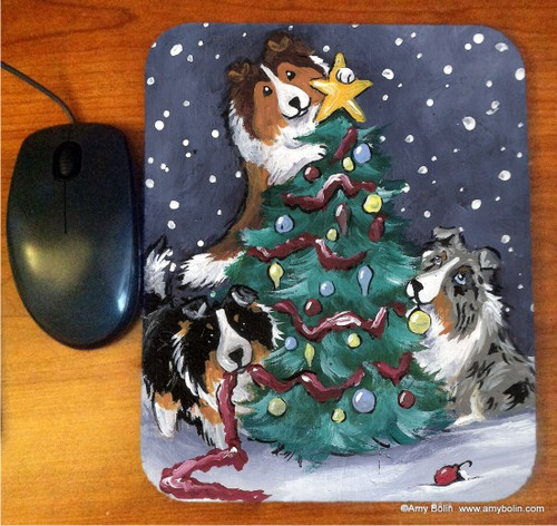 """""""Christmas Together"""" Blue Merle, Sable, Tri Color Shetland Sheepdogs Mouse Pad"""