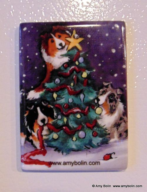 """""""Christmas Together"""" Blue Merle, Sable, Tri Color Sheltie Magnet"""