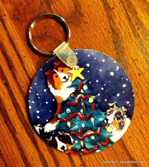 """Christmas Together"" Blue Merle, Sable, Tri Color Shetland Sheepdog Keychain"