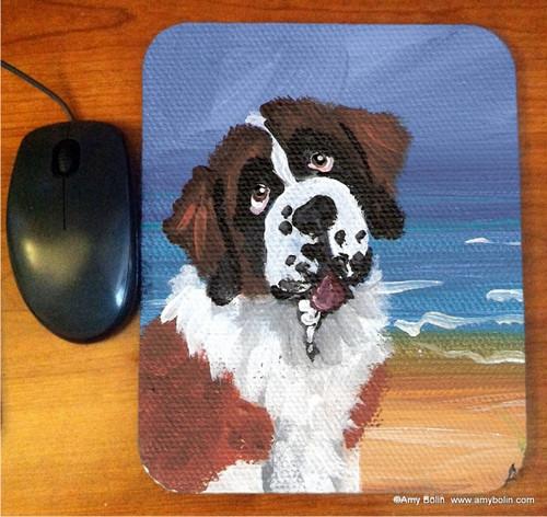 """A Day At The Beach"" Saint Bernard Mouse Pad"