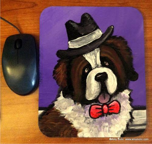 """""""Dapper Dog"""" Saint Bernard Mouse Pad"""