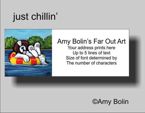 """Just Chillin'"" Saint Bernard Address Labels"