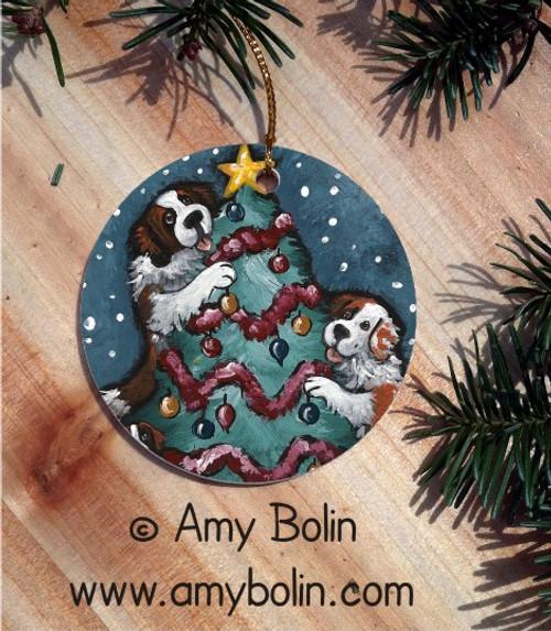 """Christmas Together"" Saint Bernard Ceramic Ornament Round"