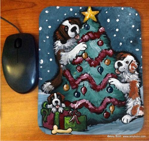"""""""Christmas Together"""" Saint Bernard Mouse Pad"""