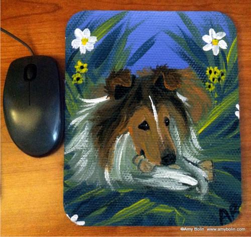 """""""A Secret Treat"""" Sable Shetland Sheepdog Mouse Pad"""
