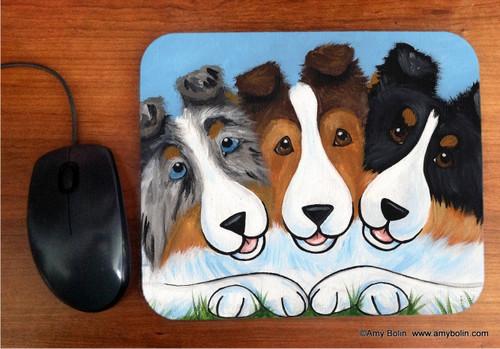 """BFF's"" Blue Merle, Sable, Tri Color Shetland Sheepdog Mouse Pad"