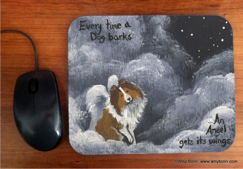 """Dog Barks & Angel Wings"" Sable Shetland Sheepdog Mouse Pad"