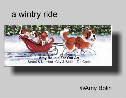 """Christmas: A Wintry Ride"" Saint Bernard Address Labels"