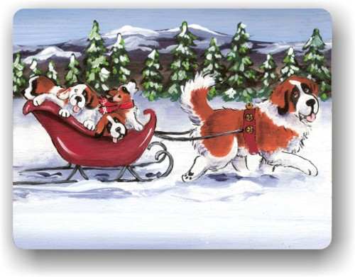 """""""A Wintry Ride"""" Saint Bernard Magnet"""