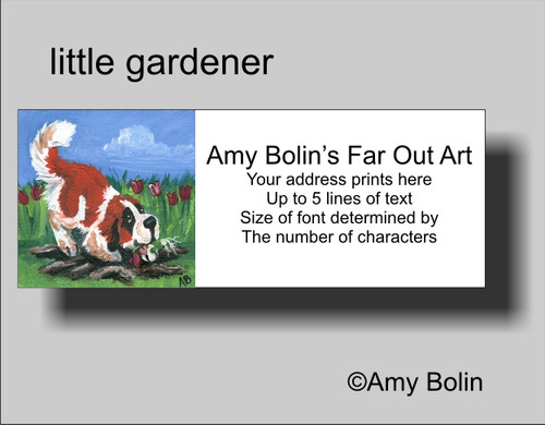 """Little Gardener"" Saint Bernard Address Labels"