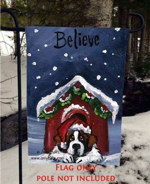 """""""Believe"""" Saint Bernard Garden Flag"""