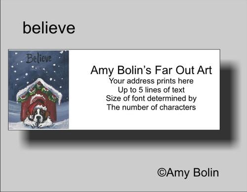 """""""Christmas"""" Believe"""" Saint Bernard Address Labels"""