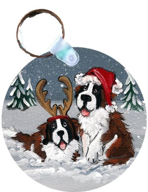 """Christmas Buddies"" Saint Bernard Keychain"
