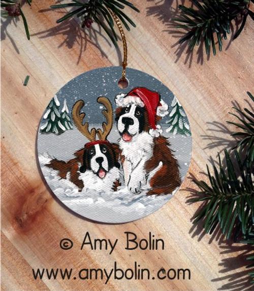 """Christmas Buddies"" Saint Bernard Ceramic Ornament Round"