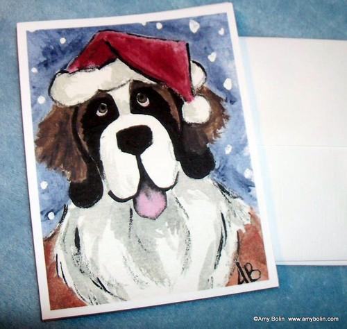 """Christmas: Santa Saint"" Saint Bernard Note Cards"