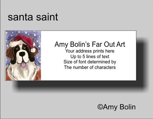 """Christmas: Santa Saint"" Saint Bernard Address Labels"