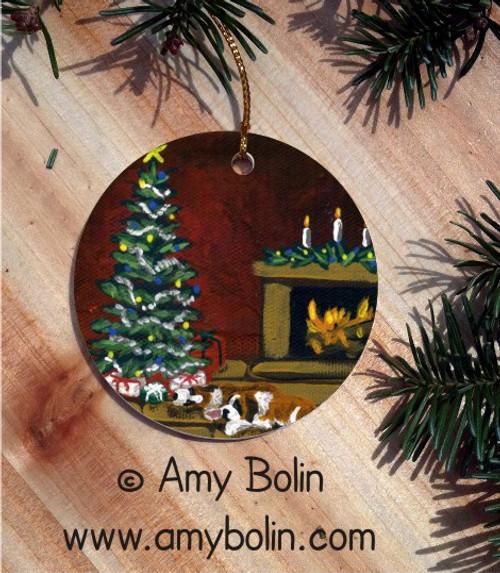 """Waiting For Santa"" Saint Bernard Ceramic Ornament Round"