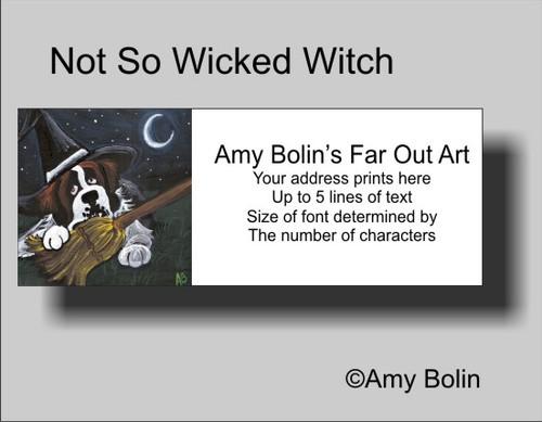 """Halloween:  Not So Wicked Witch"" Saint Bernard Address Labels"