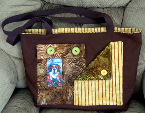 "Handmade Quilted Purse   ""Spring is Here""   Saint Bernard   By Dawn Johnson"