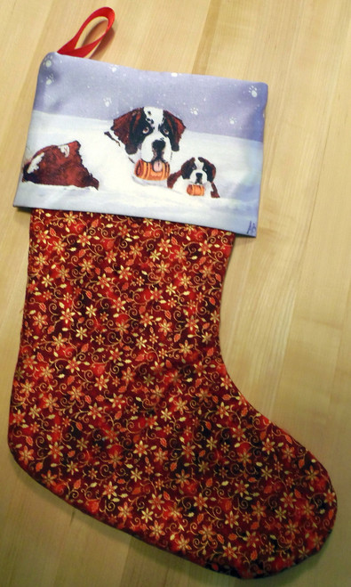 """Zeus & Ursa""    Saint Bernard Quilted Christmas Stocking By Dawn Johnson"