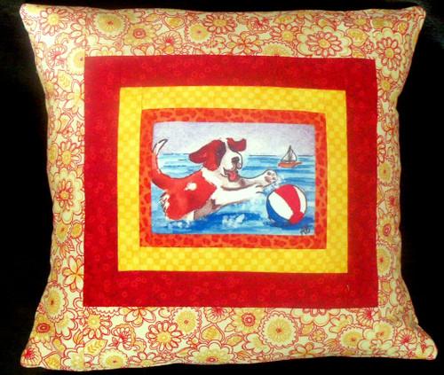 """Handmade Quilted 14"""" by 14"""" Pillow    """"Summertime Fun""""   Saint Bernard   By Dawn Johnson"""