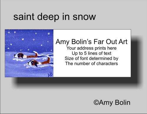 """""""Saint Deep In The Snow"""" Saint Bernard Address Labels"""