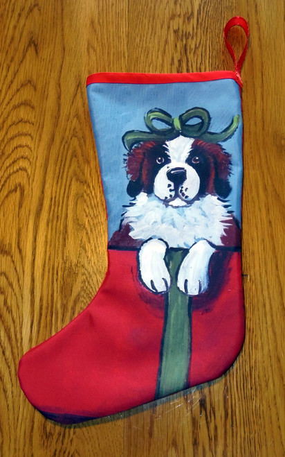 """""""Dog with Present"""" Saint Bernard Quilted Christmas Stocking By Dawn Johnson"""
