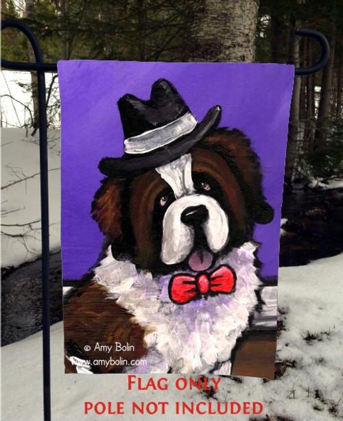 """""""Dapper Dog"""" Saint Bernard Garden Flag"""