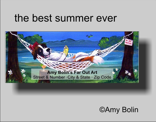"""""""The Best Summer Ever"""" Saint Bernard Address Labels"""