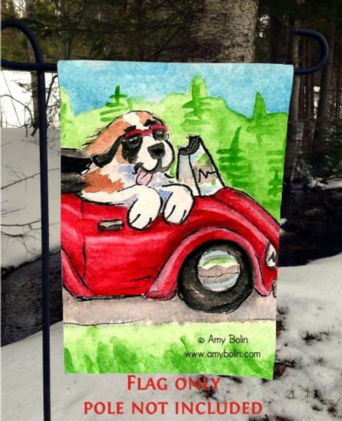 """""""Summer Is For Cruising"""" Saint Bernard Garden Flag"""