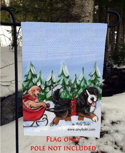 """""""A Wintry Ride"""" Bernese Mountain Dog, Golden Retriever Garden Flag"""