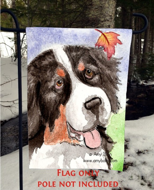 """Autumn Berner"" Bernese Mountain Dog Garden Flag"