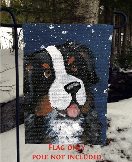 """Coutning Snowflakes"" Bernese Mountain Dog Garden Flag"