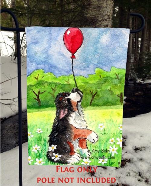 """""""Fly Away"""" Bernese Mountain Dog Garden Flag"""