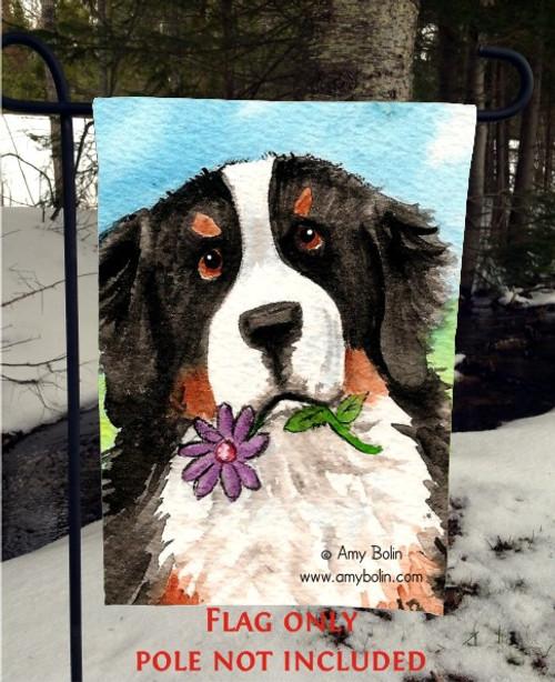 """I Saw This Flower"" Bernese Mountain Dog Garden Flag"