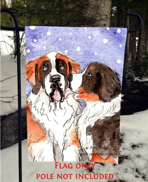 """""""Little Kiss"""" Bernese Mountain Dog, Saint Bernard Garden Flag"""