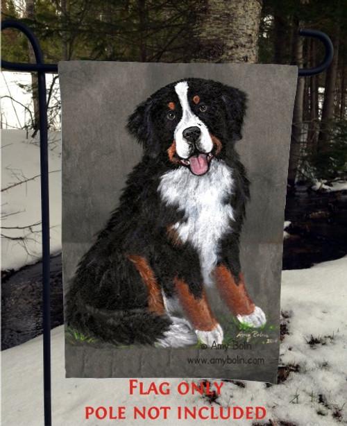 """Merlin"" Bernese Mountain Dog Garden Flag"