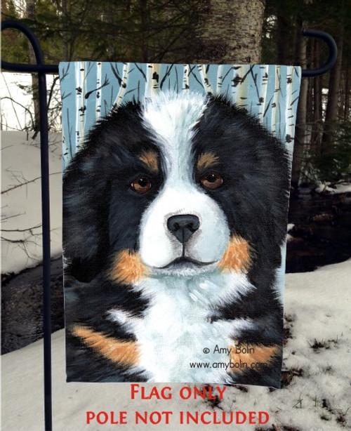 """""""Puppy Eyes"""" Bernese Mountain Dog Garden Flag"""