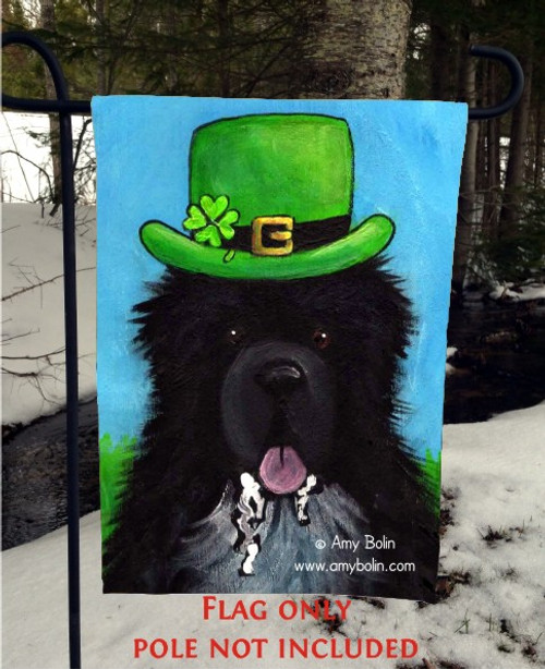 """A Big, Wet Irish Kiss"" Irish Spotted Newfoundland Garden Flag"