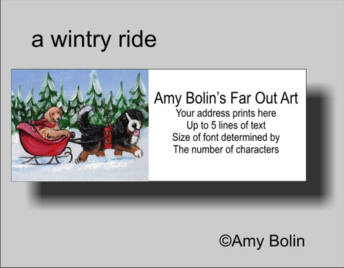 """Christmas: A Wintry Ride"" Bernese Mountain Dog, Golden Retriever Address Labels"