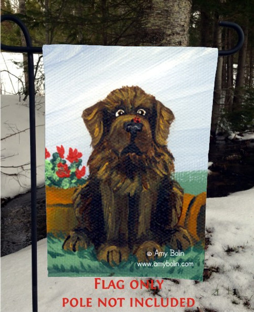 """A Little Visitor"" Brown Newfoundland Garden Flag"