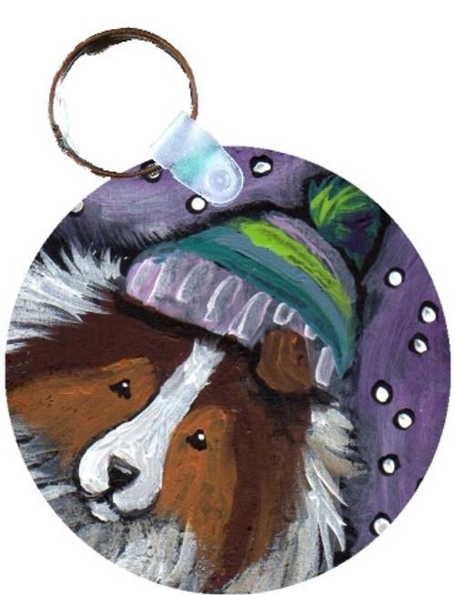 """Snowy Weather"" Sable Shetland Sheepdog Keychain"