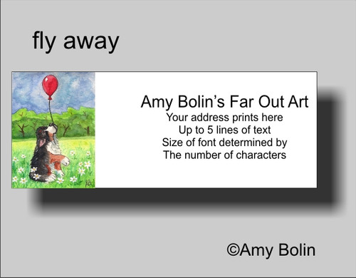 """""""Fly Away"""" Bernese Mountain Dog Address Labels"""