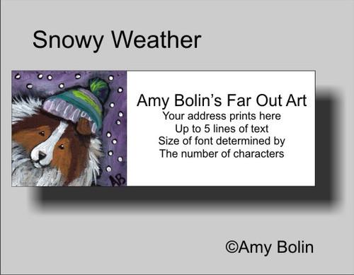 """Snowy Weather"" Sable Shetland Sheepdog Address Labels"