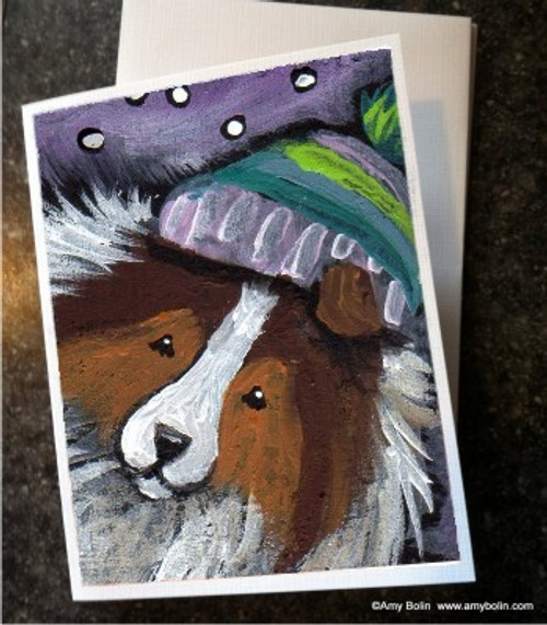 """Snowy Weather"" Sable Shetland Sheepdog Note Cards"