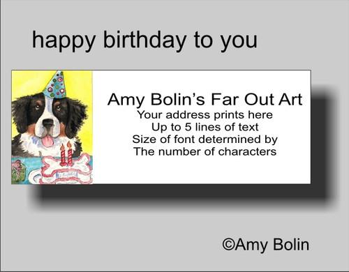 """Birthday: Happy Birthday To You"" Bernese Mountain Dog Address Labels"