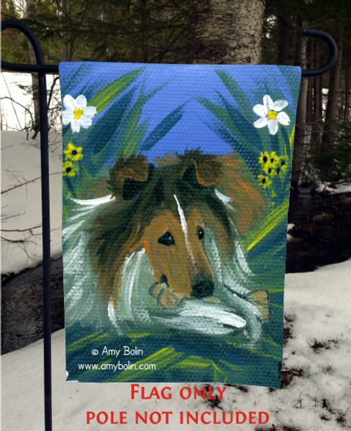 """A Secret Treat"" Sable Shetland Sheepdog Garden Flag"