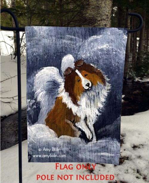 """Dog Barks & Angel Wings"" Sable Shetland Sheepdog Garden Flag"